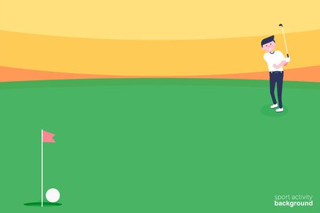 Golf tournament poster graphic design. The design representing golf green, flag and hole on golf ball pattern texture. Sport activity background. Vector Illustration  イラスト・ベクター素材