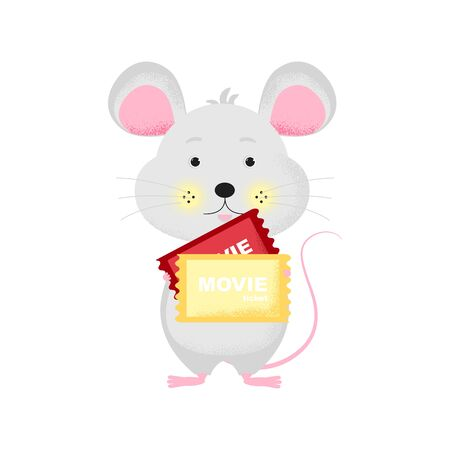 Isolated cute cartoon Mouse with ticket going to cinema. Ticket icon. Mouse with ticket. New Year card, t-shirt composition, handmade, animal symbol of 2020. Vector illustration