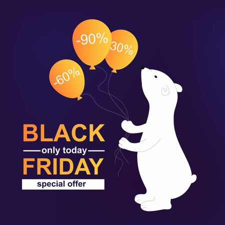Black friday. Poster big bear with balloons and sale per cent off. Animal symbol of polar. Vector illustration