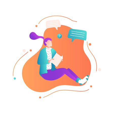 Woman with book sitting in cozy socks and studying or working. Concept relaxing time, literature reading, education. Modern vector illustration in flat style for banner, poster