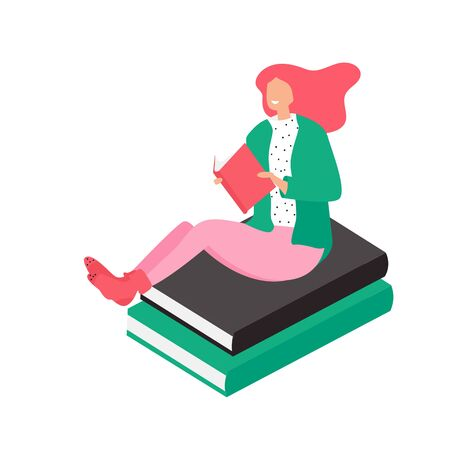Woman with book sitting on stack of giant books and studying or working. Concept of cloud library, literature reading, education. Modern vector illustration in flat style for banner, poster Фото со стока - 131285435