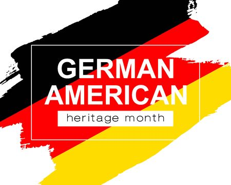 Hand draw German American heritage flag in vector format. German flage for poster. Remember history symbol background. Concept design. Vector Illustration