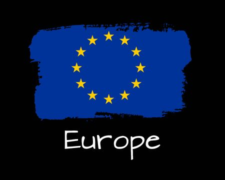 Isolated Hand draw Europe flag on ink. Vector Illustration. National Europe banner for design on black background.