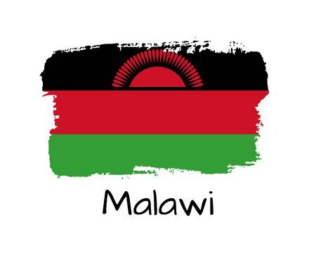 Isolated Hand draw Malawi flag with sun. Vector Illustration. National Malawi  banner for design on white background Vettoriali