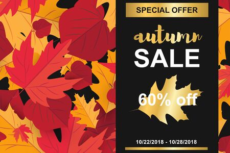 Season sale banner with fall autumn leaf and gold elements concept. Template holiday banner for season sale, thanksgiving poster. Background with red maple leaves. Vector Illustration Illustration