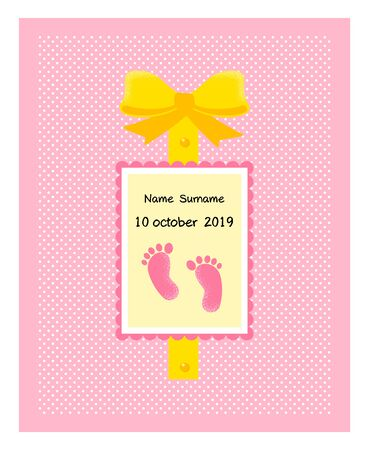 Coming soon, vector illustration with baby footprint. Fun quote hipster design or label. good concept for, posters, textiles, gifts, sets Foto de archivo - 131286309