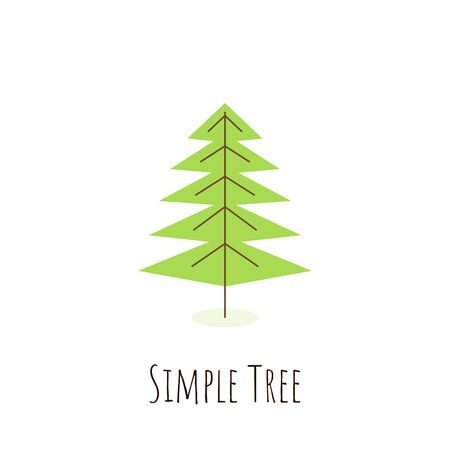 Isolated simple tree in flat style. Icon of green plant, forest. Christmas Tree pictogram concept. Vector illustration
