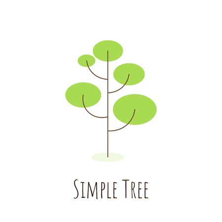 Isolated simple tree in flat style. Icon of green plant, forest. Tree pictogram concept. Vector illustration Çizim