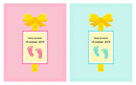 Set of Vector poster for twins. Little funny footprint for shower card, birthday card background for girl and boy. Vector Illustration Stock Illustratie