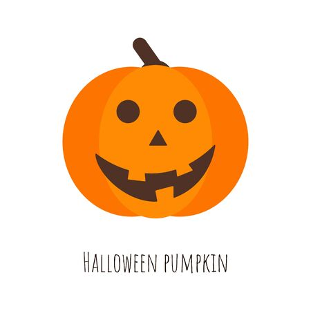 Isolated Halloween pumpkin, funny face. Autumn holidays. Halloween mask evil, horror, creepy, scary face for design card. Element for template. Vector Illustration