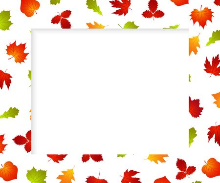 Autumn frame background with fall leaf. Banner for photo, ad, thanksgiving poster. Template design. Vector Illustration