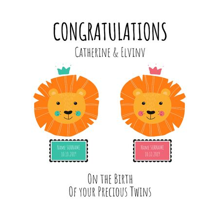 Invitation poster concept for Baby Shower twins celebration party. Vector illustration with baby lion. Fun quote hipster design  or label. good concept for posters, textiles, gifts