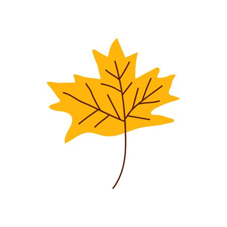Isolated cute autumn leaf in scandinavian style for sale background. Flat icon for offer banner, ad, thanksgiving poster . Vector Illustration Иллюстрация