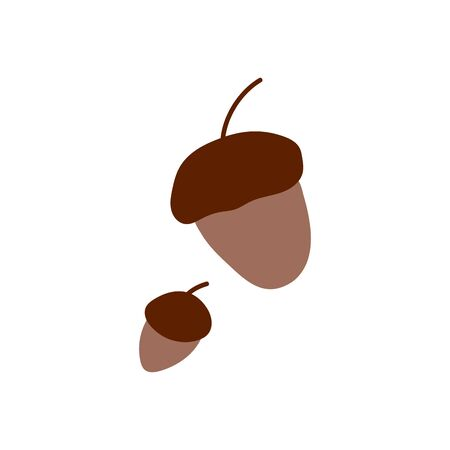 Isolated cute autumn acorn in scandinavian style for sale background. Flat icon for offer banner, ad, thanksgiving poster . Vector Illustration