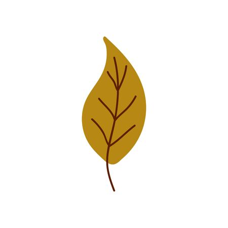 Isolated cute autumn leaf in scandinavian style for sale background. Flat icon for offer banner, ad, thanksgiving poster. Vector Illustration