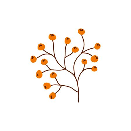 Isolated cute autumn small fruit or snowball tree in scandinavian style for sale background. Flat icon for offer banner, ad, thanksgiving poster, . Vector Illustration