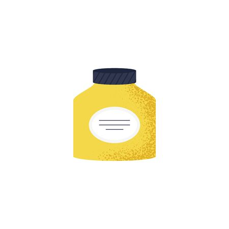 Lovely isolated icon of cold and flu season items in trendy vector flat design aspirin pills, cough syrup, drug. Vector Illustration