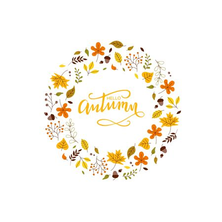 Isolated cute autumn leaf and small fruit frame in scandinavian style. Hello Autumn frame for offer banner, ad, thanksgiving poster, background. Vector Illustration