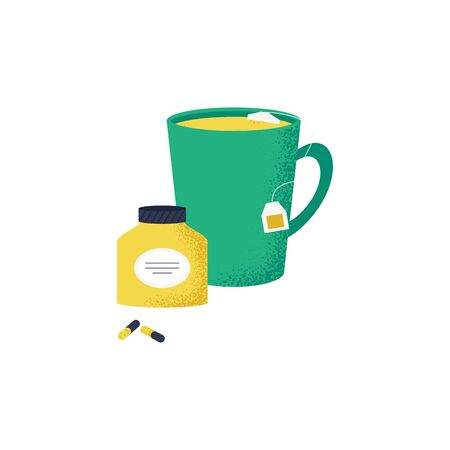 Lovely isolated icon of cold and flu season items in trendy vector flat design hot tea and drug. Vector Illustration
