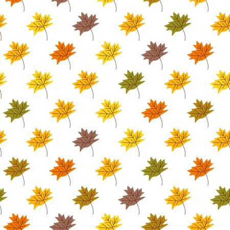Seamless pattern with cute autumn leaf in scandinavian style. Perfect for wallpaper, gift paper, pattern fills, web page background, autumn greeting cards. Vector Illustration Иллюстрация