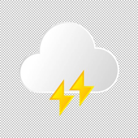 Isolated weather icon. Cloud and lightning element on transparent background. Vector Illustration. Thunder