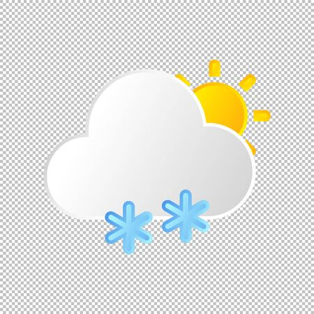 Isolated weather icon. Snow and sun, cloud element on transparent background. Vector Illustration. Snowflake, snowing in the day Иллюстрация