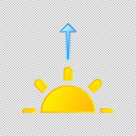 Isolated weather icon. Sunrise element on transparent background. Vector Illustration. Sunshine