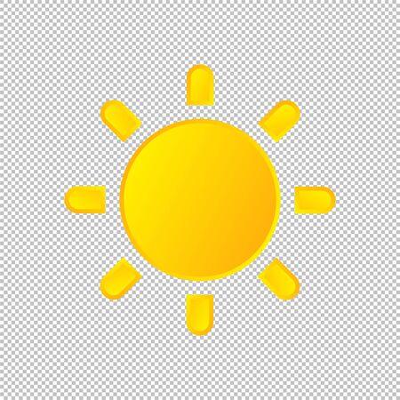 Isolated weather icon. Sun element on transparent background. Vector Illustration. Sunshine, sunny