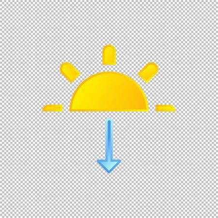 Isolated weather icon. Sunset element on transparent background. Vector Illustration. Sunshine