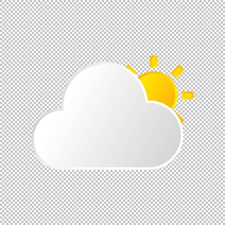 Isolated weather icon. Cloud and sun element on transparent background. Vector Illustration. Cloudy