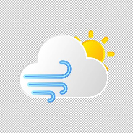 Isolated weather icon. Wind element on transparent background. Vector Illustration. Modern windy day or nignt Illustration