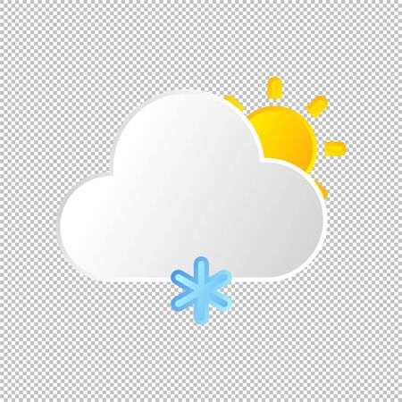 Isolated weather icon. Snow element on transparent background. Vector Illustration. Snowflake, snowing in day