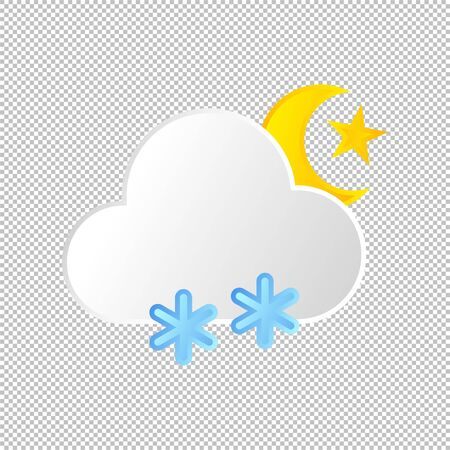 Isolated weather icon. Snow element on transparent background. Vector Illustration. Snowflake, snowing