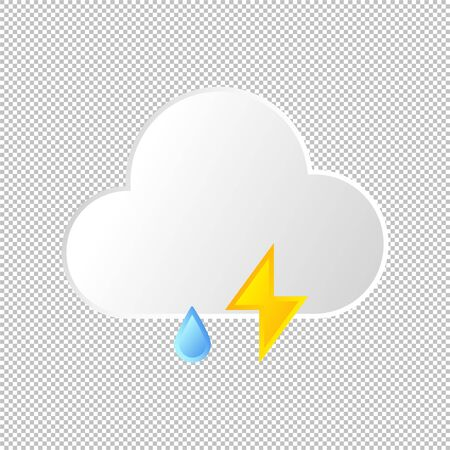 Isolated weather icon. Cloud and lightning, rain element on transparent background. Vector Illustration. Thunder