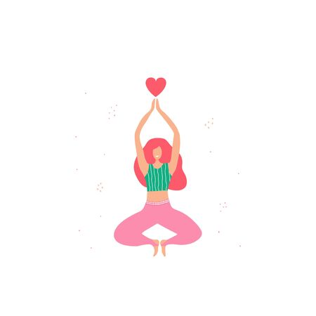 Isolated young woman character doing yoga at home in scandinavian style. Love yoga. Time for healthy life with yoga exercise. Vector Illustration. Girl holding heart in her hands