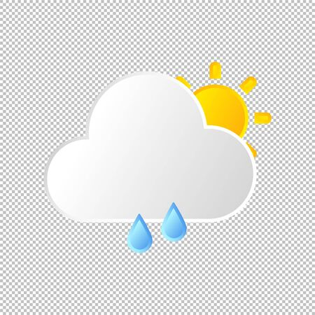 Isolated weather icon. Rain element on transparent background. Vector Illustration. Rainy in day