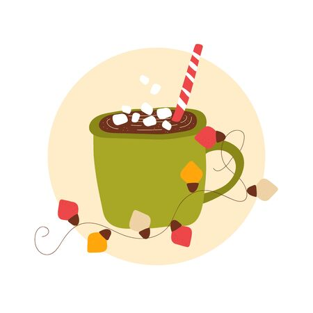 Isolated cute hot cocoa andchocolate. Winter cozy drink with marshmallow in scandinavian style and lanterns Vector graphic illustration