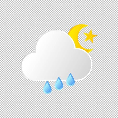 Isolated weather icon. Rain element on transparent background. Vector Illustration. Rainy in day and night
