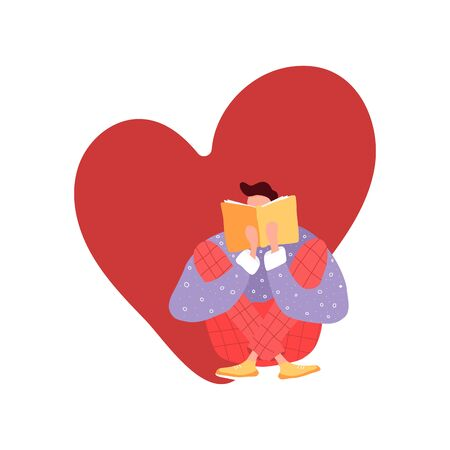 Isolated man loves to read a book. Flat illustration with boy and open book. Poster for education, library, culture festival day. Reader smart young character.