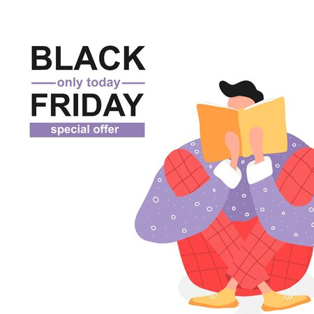 Black friday poster with man reading a book. Flat illustration with boy and open book. Poster for education, library, culture festival day, shop. Reader smart young character. Иллюстрация