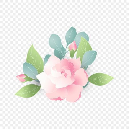 Isolated pink flower composition for wedding. Vector floral element. Cute romantic Gardenia for wedding card on transparent background. Vector Illustration