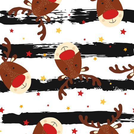 Seamless pattern with cute deer in scandinavian style on striped background. Kid christmas character. Animal element for card, poster, baby shower background. Vector Illustration Иллюстрация