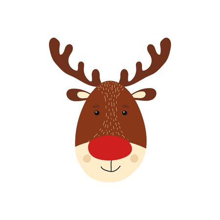 Isolated cute deer in scandinavian style. Kid christmas character. Animal element for card, poster, baby shower background. Vector Illustration Иллюстрация