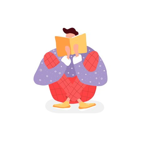 Isolated man reading a book. Flat illustration with boy and open book. Poster for education, library, culture festival day. Reader smart young character.
