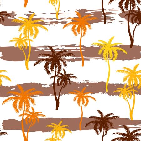 Seamless pattern with hand drawn palm tree silhouette on strip background. Tropical coconut for t-shirt prints. Tropical nature element. Vector Illustration Иллюстрация