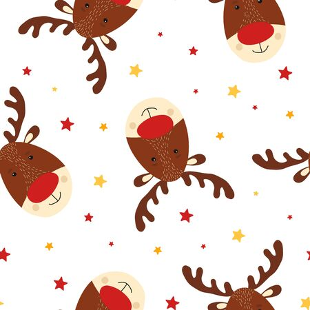 Seamless pattern with cute deer in scandinavian style. Kid christmas character. Animal element for card, poster, baby shower background. Vector Illustration