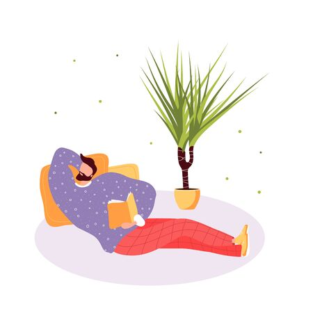 Isolated lying man read a book. Flat illustration with boy and open book. Poster for education, library, culture festival day. Reader smart young character. Иллюстрация