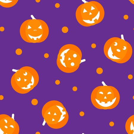 SEamless pattern with halloween pumpkins, funny faces. Autumn holidays. Halloween mask evil, horror, creepy, scary face for design card. Element for template. Vector Illustration Иллюстрация