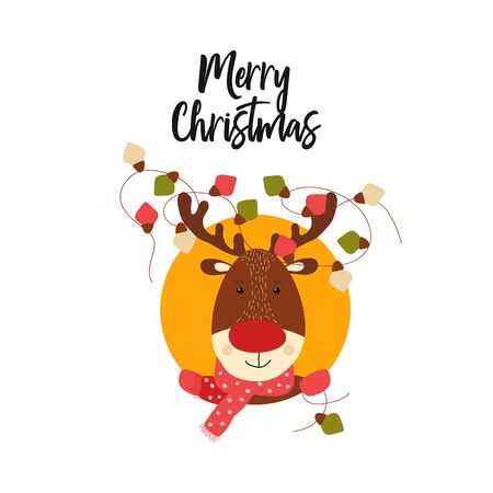 Isolated cute deer in scandinavian style. Kid christmas characher. Animal element for card, poster, merry christmas background. Vector Illustration