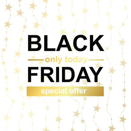 Black Friday poster. Special offer with golden background with stars. Vector Illustration Иллюстрация